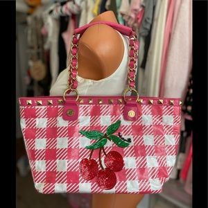 Vintage Betseyville by Betsey Johnson Cherries 🍒Cherry 🍒Gingham Tote